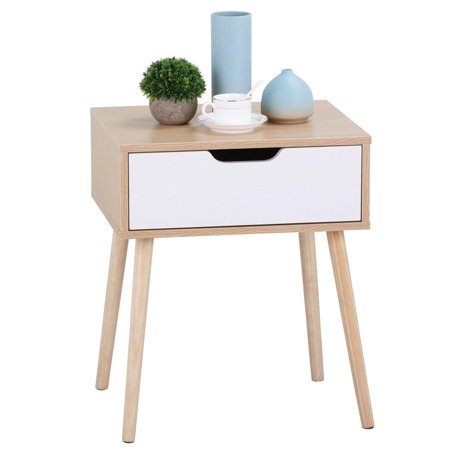 White/Brown Walnut Side End Table Nightstand with Storage Drawer Solid Wood Legs Living Room Furniture