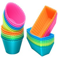 IPOW Silicone Cupcake Liners Kit Reusable Mini Baking Cups Nonstick Pastry Muffin Molds Holders, 24pcs, Rainbow Color