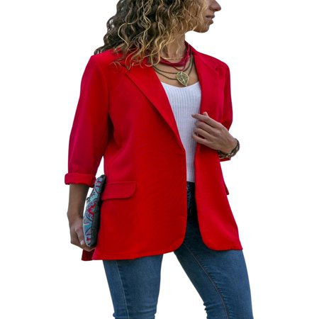 Fashion Women Long Sleeve Lapel Cardigan Jacket Casual Blazer Suit Top Jacket Coat Outwear ()