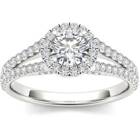 1 Carat T.W. Diamond Split Shank Single Halo Engagement Ring in 14kt White Gold