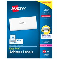 "Avery® Easy Peel® Address Labels, Sure Feed™ Technology, Permanent Adhesive, 1"" x 2-5/8"", 7,500 Labels (5960)"