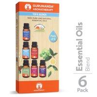 GuruNanda Top 6 Blends Essential Oils, Pack of 6 bottles