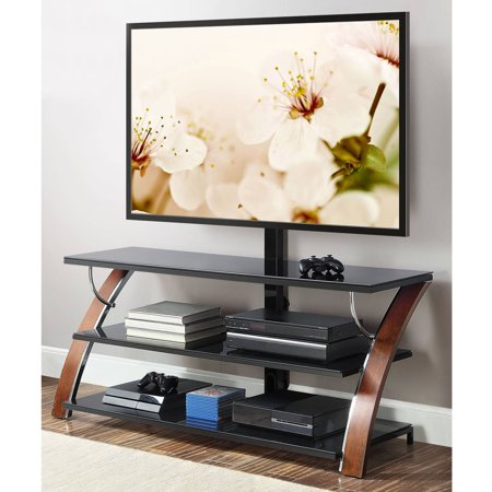 Bush Metal Tv Stand (Whalen Payton Brown Cherry 3-in-1 Flat Panel TV Stand for TVs up to)