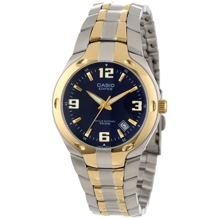 Men's Edifice 10-Year Battery Analog Watch, Two Tone Stainless (Case Two Tone Watch)