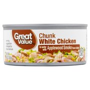 (3 Pack) Great Value Chunk White Chicken in Water with Applewood Smoke, 10 oz