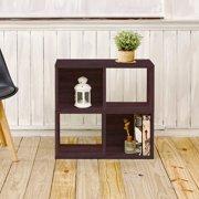 Way Basics Eco 4 Cubby Bookcase, Stackable Organizer and Storage Shelf, Espresso