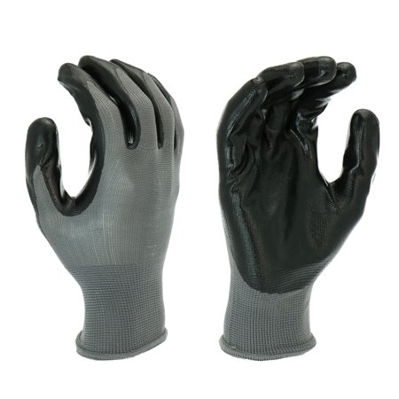 Hyper Tough Multipurpose Nitrile-Grip Gloves, Medium Duty, 3 Pair, Large, - Black Lighting Gloves