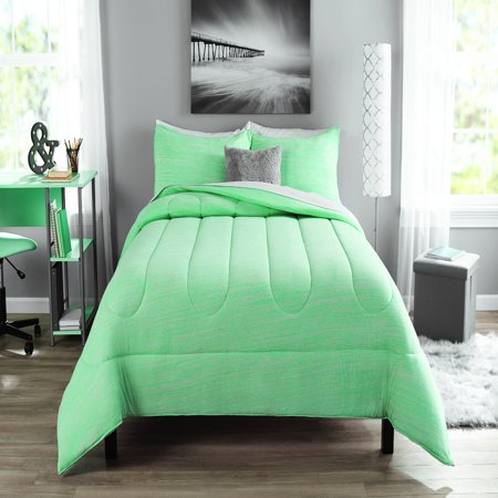 Mainstays Full or Queen Jersey Comforter Set, 3 - Green Bedding