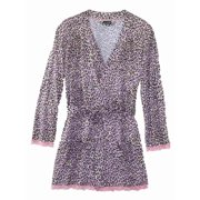 b5a7a9954f Joe Boxer Womens Pink Leopard Print Lacy Robe Tie Front Bathrobe House Coat
