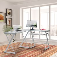 Techni Mobili L-Shaped Tempered Glass Top Computer Desk with Pull Out Keyboard Tray, Clear (RTA-3802-GLS)