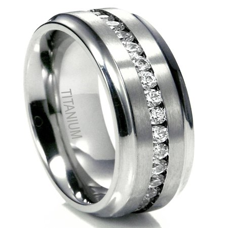 - Sz 10.0 Men's 7MM Eternity Titanium Ring Wedding Band with CZ