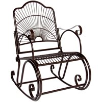 Best Choice Products Antique Outdoor Patio Iron Scroll Porch Rocker Rocking Chair Deck Seat Backyard Glider - Brown