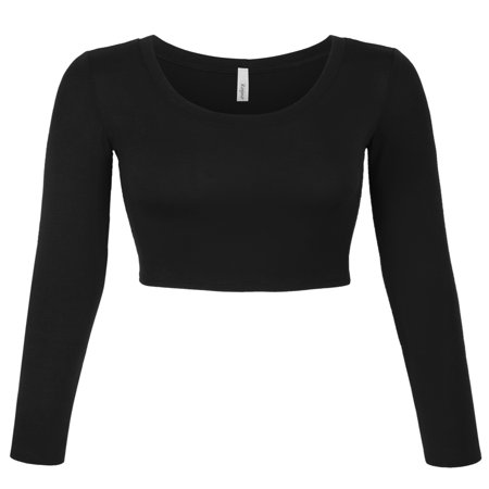 KOGMO Womens Long Sleeve Crop Top Solid Round Neck T - Organza Long Sleeve