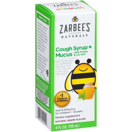 Zarbee's Naturals Children's Cough Syrup + Mucus with Dark Honey & Ivy Leaf , Natural Grape Flavor, 4 Fl. Ounces (1 (Cough Syrup For Adults With High Blood Pressure)