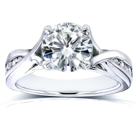 Forever One (D-F) Moissanite and Diamond Twist Engagement Ring 1 1/5 CTW in 14k White Gold (White Diamond Twist Ring)