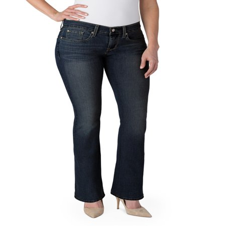 Signature by Levi Strauss & Co. Women's Curvy Bootcut Jeans Belted Bootcut Relaxed Jean