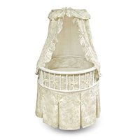 Badger Basket - Elegance Bassinet, White With Sage Toile Bedding