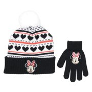 bf6893c3de6 Disney Little Girls Minnie Mouse Hat and Gloves Cold Weather Set