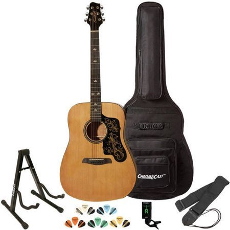 Sawtooth Acoustic Guitar with Padded Case, Tuner, Stand, Strap & Picks - Dreadnought Folk
