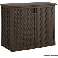Suncast 97 Gallon Java Resin Wicker Outdoor Cabinet BMOC4100