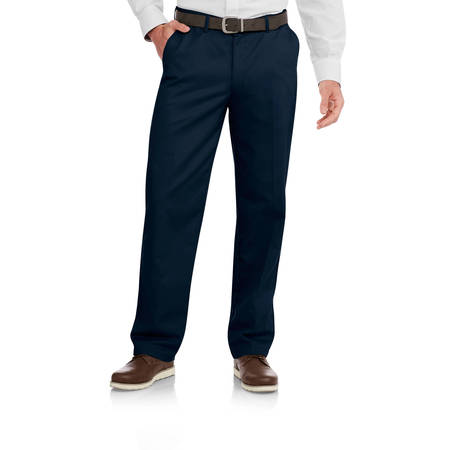 George Men's Wrinkle Resistant Flat Front 100% Cotton Twill Pant with - Casual Slim Straight Pants