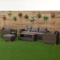 Costway 7 PCS Outdoor Patio Rattan Furniture Set Sectional Steel Frame Cushioned Deck