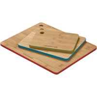 Farberware 3-Piece Bamboo Cutting Board Set with Color Edges