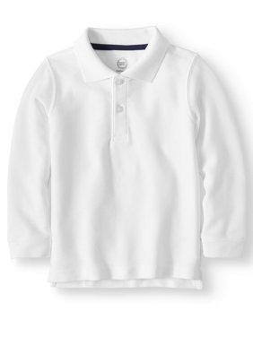 Toddler Boys School Uniform Long Sleeve Double Pique Polo