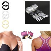 182e4bae57e 2 Pair Clear Invisible Bra Straps 3 Cleavage Control Holder Clips Conceal  Adjust