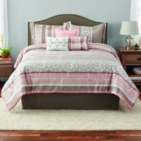 Mainstays Full or Queen Jacquard Multi-Color Stripe Comforter Set, 7 Piece