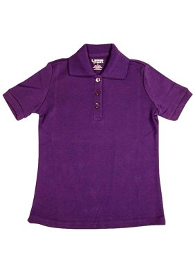 French Toast - Little Girls SS Interlock Fitted Knit Polo Picot Collar Purple / 12