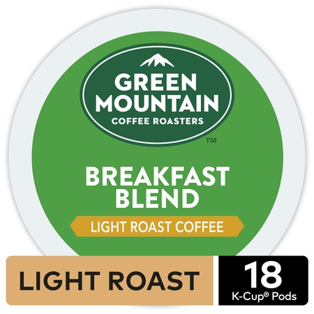 Green Mountain Coffee Breakfast Blend, Keurig K-Cup Pod, Light Roast, 18 Ct