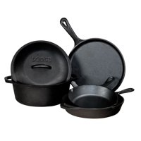 Lodge Seasoned Cast Iron 5 Piece Cookware Set w/ Skillet, Griddle, & Dutch Oven