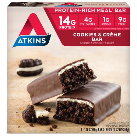 Atkins Cookies & Creme Bar, 1.76oz, 5-pack (Meal Bar)