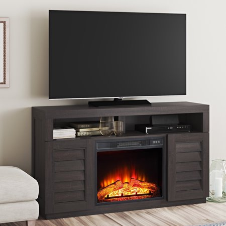 Better Homes & Gardens Ellis Shutter Media Fireplace for TVs up to 70 & 135 lbs Dark Oak Finish