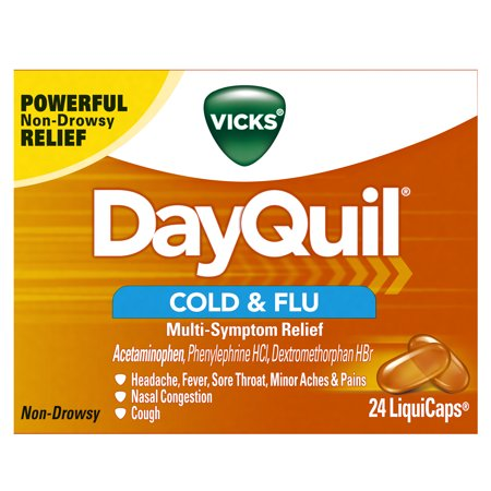 Flu Graphics - Vicks DayQuil Cold & Flu Multi-Symptom Relief, 24 LiquiCaps - #1 Pharmacist Recommended -Non-Drowsy, Daytime Sore Throat, Fever, and Congestion Relief