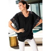 Women Lace Blouse Bat Style Sleeves Top Black