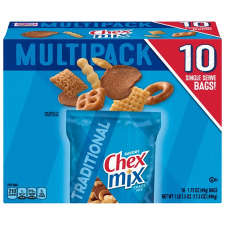 Chex Mix Savory Traditional Snack Mix, 1.75 oz Bags, 10 Count