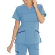 b1ec3a929ea Scrubstar Women's Stretch Twill Color Accent V-Neck Scrub Top