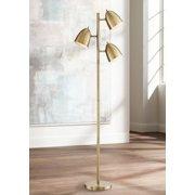 9937291119 360 Lighting Mid Century Modern Floor Lamp Aged Brass 3-Light Tree  Adjustable Dome Shades