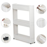 3 Tiers Mobile Shelving Unit Slim Slide-Out Storage Tower Pull out Pantry Shelves Cart for Kitchen Bathroom Bedroom Laundry Room Narrow Places on Wheels White