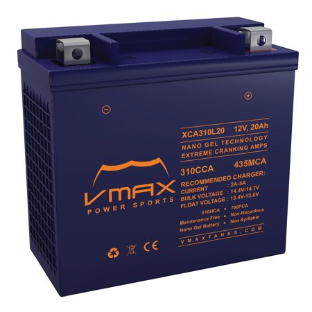 VMAX XCA310L20 ATV Battery for Bombardier Can Am 1000cc outlander 1000 (2012-2017) 12V 20ah Heavy Duty Powersports Battery Can Am Outlander Atv