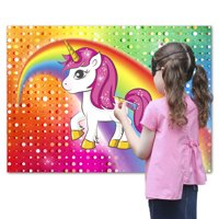 Pin the Horn on the Unicorn Party Favor Game for Kids, Includes: 24 Reusable Sticker Horns, Perfect for Large Parties, 2 Blindfolds, 10 Adhesive Glue Dots