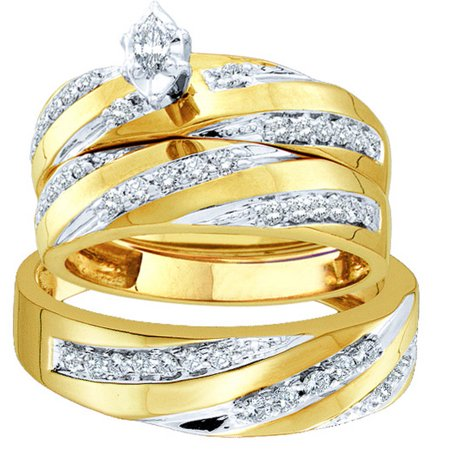 10k Yellow Gold Marquise Diamond Womens Mens Matching Trio Wedding Bridal Ring Band Set (.75 cttw.) size- -