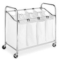 Whitmor 4-Section Laundry Sorter with Wheels Chrome & White