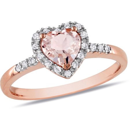 5/8 Carat T.G.W. Morganite and Diamond-Accent 10kt Rose Gold Heart Ring