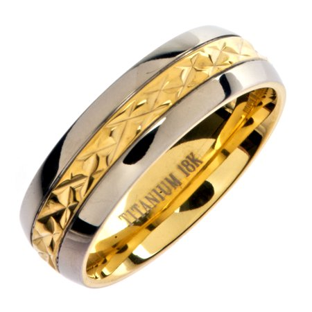 7mm 18K Gold Plated Wedding Ring Grade 5 Titanium Band Comfort - 18k Gold Mens Wedding Band 7mm