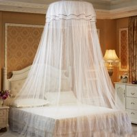 Double Lace Mosquito Net Bed Canopy Netting Mesh Curtain Round Dome Princess Bedding Net with Luminous Butterfly