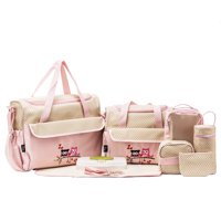 SoHo Collections, Large Capacity Tote Diaper Bag, 10 Piece Complete Set with Stroller Straps (Pink with Owls)