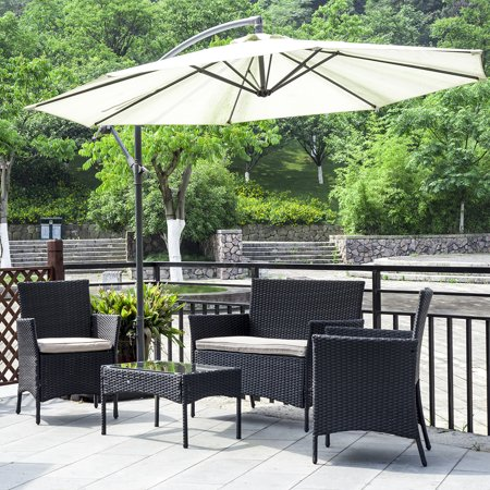 Patio Wicker Furniture Outdoor 4pc Rattan Sofa Garden Conversation Set ()